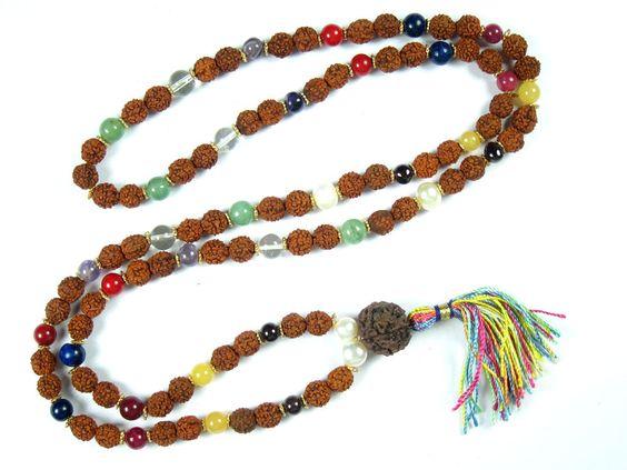 Yoga Gift Bring Abundance Mala Beads Nine Stone Rudraksha Spiritual Prayer Mala