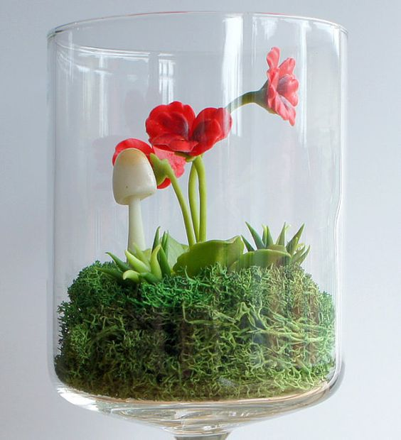 Tiny Red Pansy Woodland Terrarium in Repurposed Glass