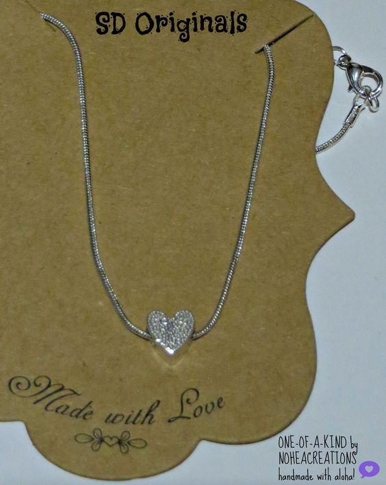 N-169 NoheaCreations. OOAK Handmade. Sterling SIlver. Heart.Bead.Necklace.