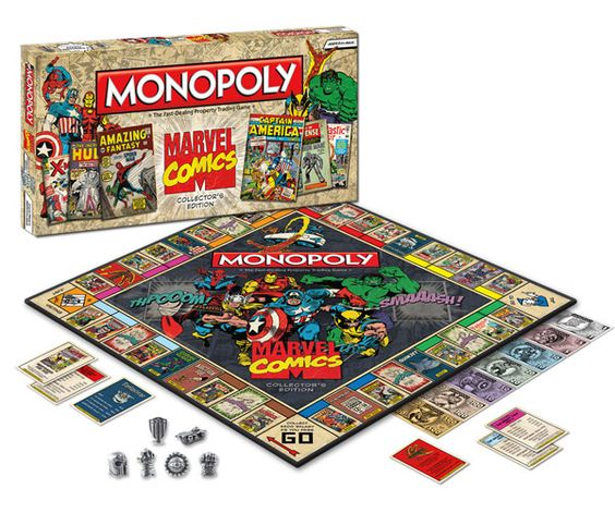 "If you like comics and Monopoly is old hat, how about Marvel Monopoly? Each property is an iconic cover (Park Place is ""Amazing Fantasy"" 15). Game tokens represent Marvel weaponry (the hat is Magneto's helmet). More expensive than regular Monopoly, but you're a fanboy!"