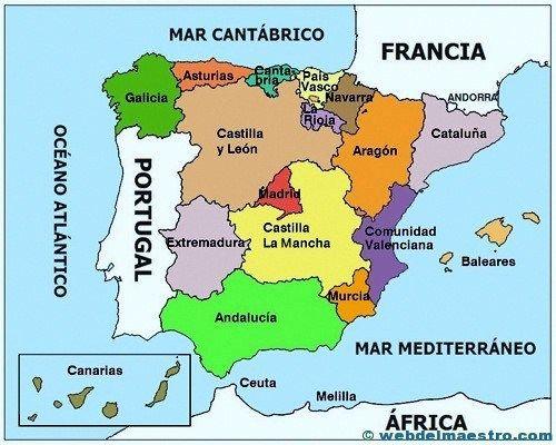 Mapa Político Web Del Maestro Mapa Fisico De España Mapa Politico Mapa De España