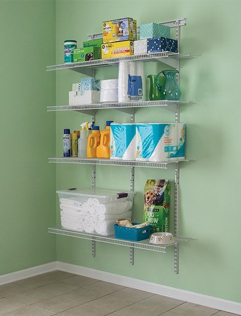 Extend Your Utility Storage Outside Of The Closet With A Shelftrack Wire Kit Utilitycloset Utilityr Broom Closet Organizer Closet Maid Laundry Room Shelves