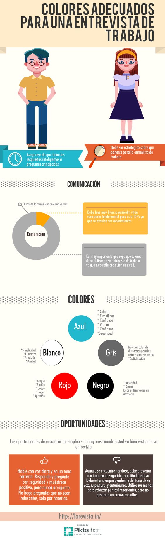 Colores adecuados para una entrevista de trabajo #infografia #infographic #empleo:
