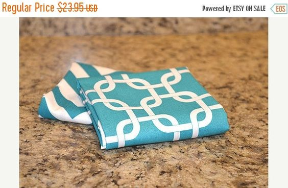 SALE Kitchen Hand Towels (set of 2) - Gotcha Teal & Chevron Teal by ThePreppyOwlBoutique on Etsy https://www.etsy.com/listing/161987507/sale-kitchen-hand-towels-set-of-2-gotcha