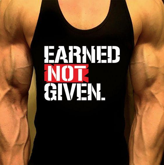 Workout Tank, Mens Workout Tank, EARNED NOT GIVEN, Mens Gym Shirt, Mens Gym Tank, Workout Clothes for Men,Muscle Tee, Mens Fitness Tank by MyFitnessApparel on Etsy