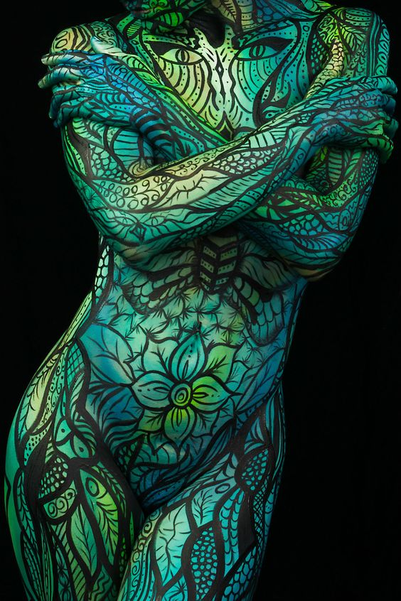 green body painting on female body by trina merry