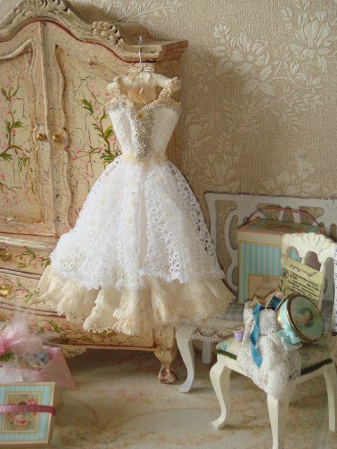 OOAK Dollhouse Wedding gown on hanger.1:12 by ANABELAMINIATURES