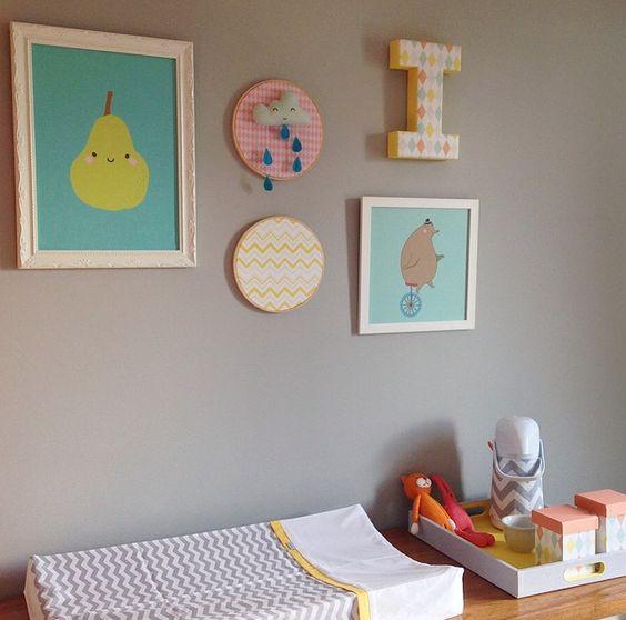 Composição de quadrinhos para quarto de bebê