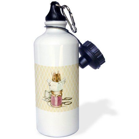 3dRose Sewing Mouse- Vintage Art- Animals, Sports Water Bottle, 21oz