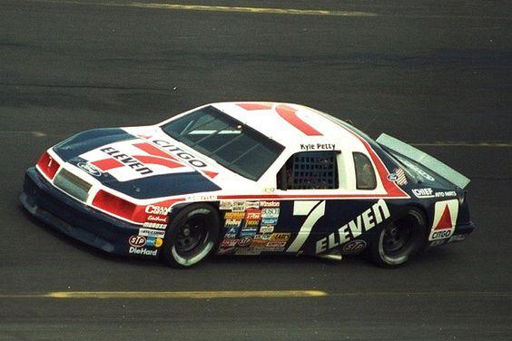 Kyle Petty In The Wood Brothers 7 11 Ford Thunderbird Nascar Race Cars Race Cars Nascar Cars