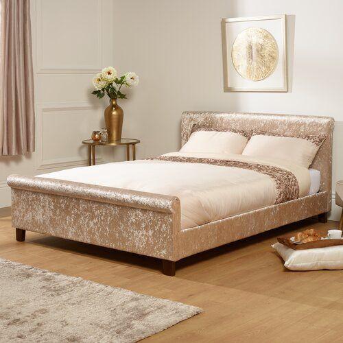 Stella Polsterbettrahmen Hazelwood Home Grosse 150 X 200 Cm Farbe Der Polsterung Gold Crushed Velvet Ottoman Bed Furniture Crushed Velvet Sleigh Bed