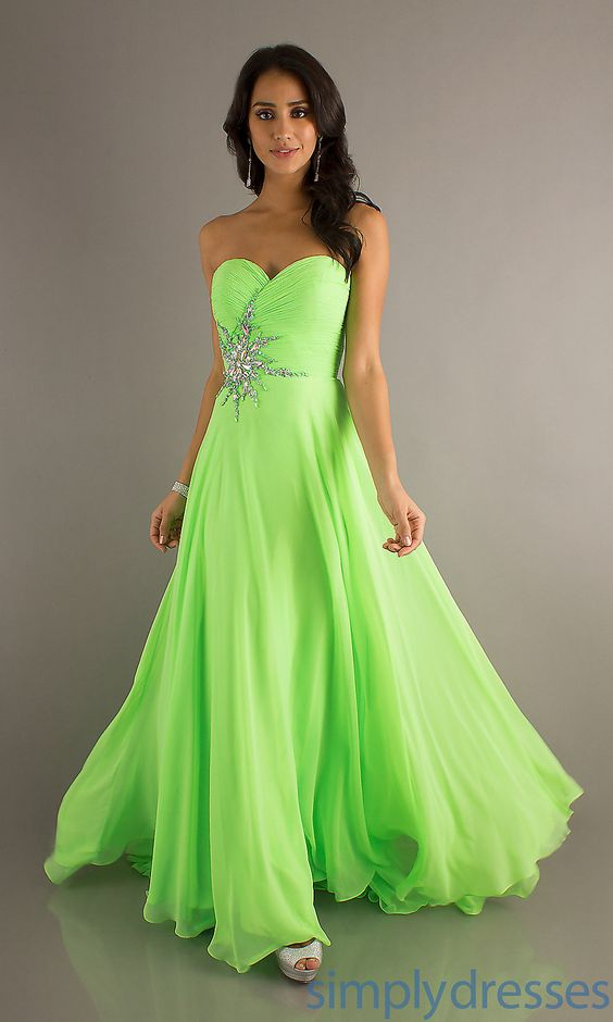 lime green sweet 16 chiffon dresses | Strapless Prom Gowns, Crush Strapless Prom Dress - Simply Dresses