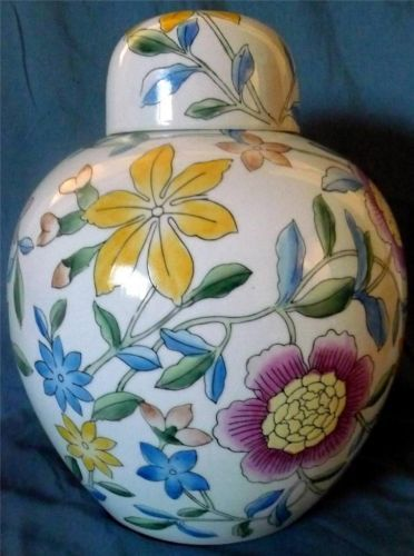 """Chinese Large Porcelain Ginger Jar Bright Yellow Blue Purple Flowers 11"""" X 13"""" Check more at https://thewildpetunia.com/store/asian-collectibles/chinese-large-porcelain-ginger-jar-bright-yellow-blue-purple-flowers-11-x-13/"""