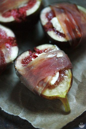 Figs stuffed with goat or blue cheese, wrapped with prosciutto, roasted with a drizzle of honey...