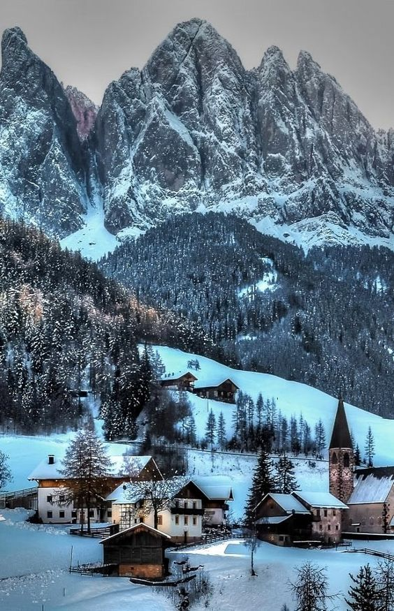 ♥ Funes in winter, Italy South Tyrol Trentino Alto Adige