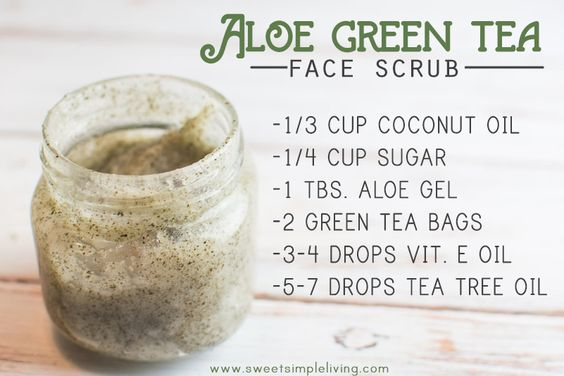 DIY: aloe green tea face scrub: