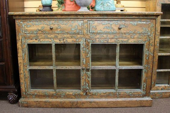 Unique sideboard buffet with 2 drawers and 2 doors painted a distressed brown with turquoise accents.  New from designer home furnishings store #OnTheShowroomFloor #Unique #Sideboard #Buffet #Turquoise #Distressed #Brown #NEW #Designer #StillGoode