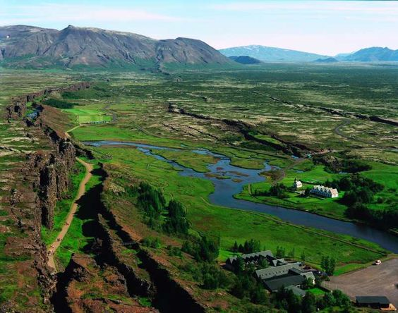 Thingvellir.... The road on the left, is in the rift between continents.. pretty amazing walk through this place where history of vikings and outlaws just drips of every stone...