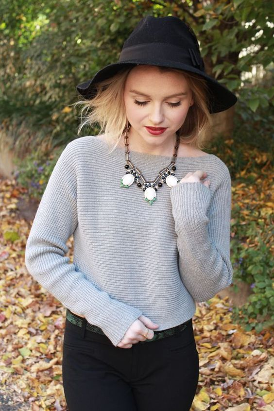 fedora, sweater, statement necklace (fall outfit idea)