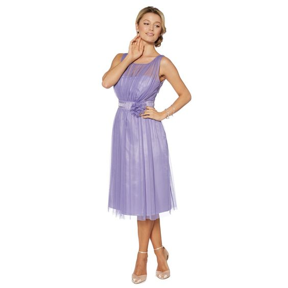 Debut Lilac mesh build corsage midi dress- at Debenhams.com