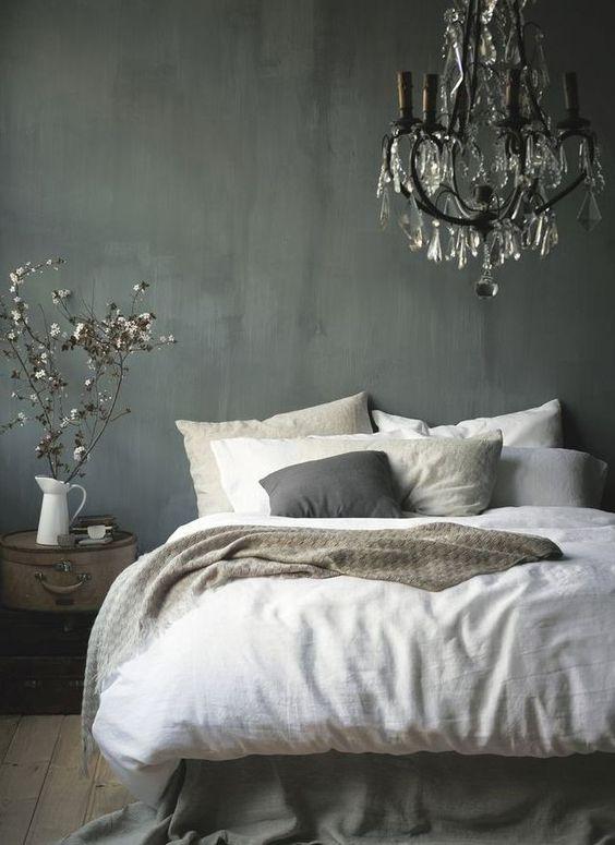 The 3 Biggest Home Decor Trends on Pinterest ThisSpring | StyleCaster | Grey Bedroom, Chandelier Http://FashionCognoscente.blogspot.com