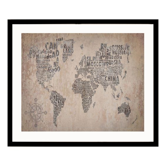 cadre d coratif carte du monde en bois mdf et verre 40x50cm world monde int rieurs et ps. Black Bedroom Furniture Sets. Home Design Ideas