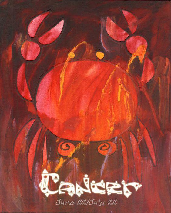 CANCER ART PRINT Retro Zodiac Astrology Crab