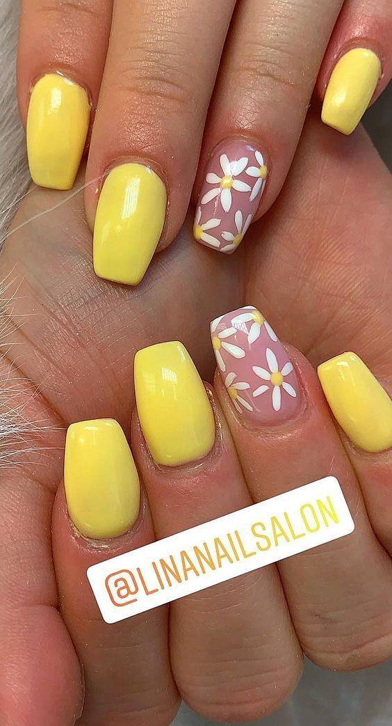 10 Nail Short Coffin Yellow In 2020 Yellow Nails Yellow Nails Design Short Acrylic Nails