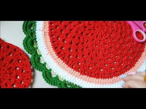 Jogo Americano Melancia Sousplat De Croche Youtube Sousplat Croche Sousplat Jogos De Croche