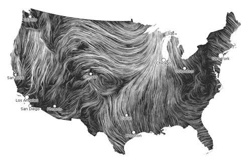 Animated wind map shows current wind speeds in United States