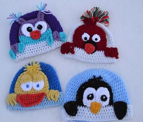 This PDF pattern is fun for the whole family!! Includes instructions for all 4 designs: Cardinal, Owl, Duck, & Penguin. Have fun!! Be Creative and make special hats for everyone!! Click here to order this PDF: http://www.maggiescrochet.com/products/peekaboo-bird-buddies-crochet-pattern-download