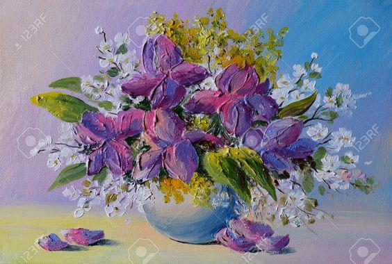 Dipinto Ad Olio - Colorato Mazzo Di Fiori Sul Tavolo In Un Vaso Su Uno Sfondo Di…