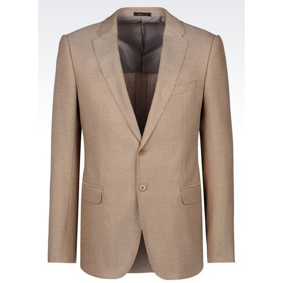 ARMANI COLLEZIONI Slim Fit Jacket In Viscose Blend (85.605 RUB) ❤ liked on Polyvore featuring men's fashion, men's clothing, men's outerwear, men's jackets, beige, mens slim jacket and mens slim fit jacket