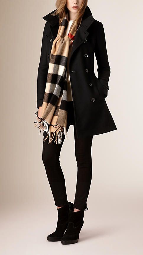 Black Short Double Wool Twill Trench Coat - Image 2                                                                                                                                                     More