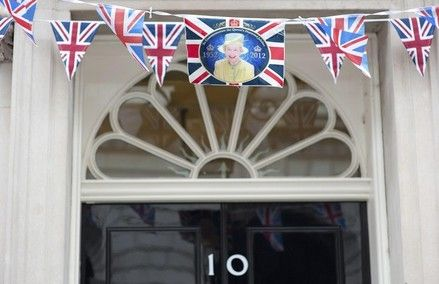 Number 10 Downing Street is seen decorated with bunting in London June 1, 2012. Four days of celebrations to mark Queen Elizabeth's 60 years on the throne will start on Saturday.