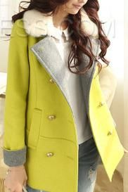 Green Lapel Double-Breasted Trench Coats Coats