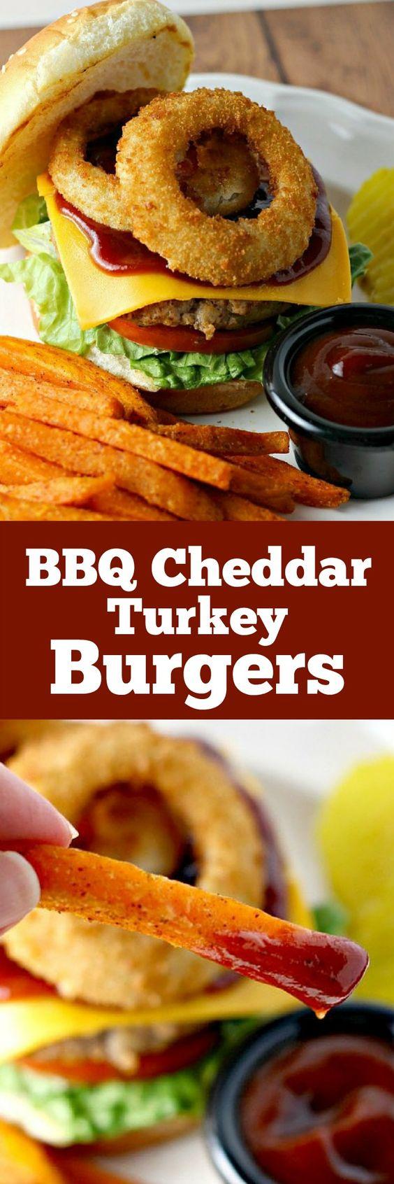 BBQ Cheddar Turkey Burgers | Cheddar, Onion rings and Rings