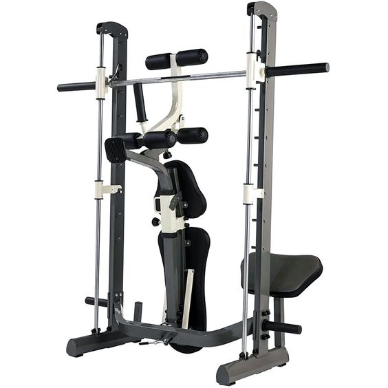 Smith machine home gym equipment and weight benches on