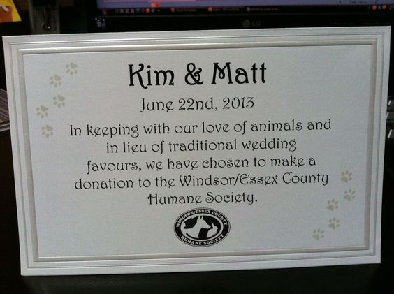 Ideas In Lieu Of Wedding Gifts : in lieu of wedding favors donation - Google Search Wedding Ideas ...