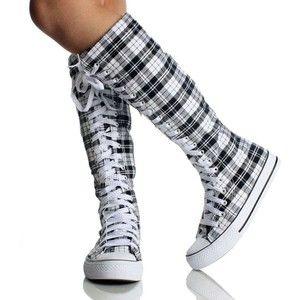 Black & White Plaid Knee High Converse Shoes