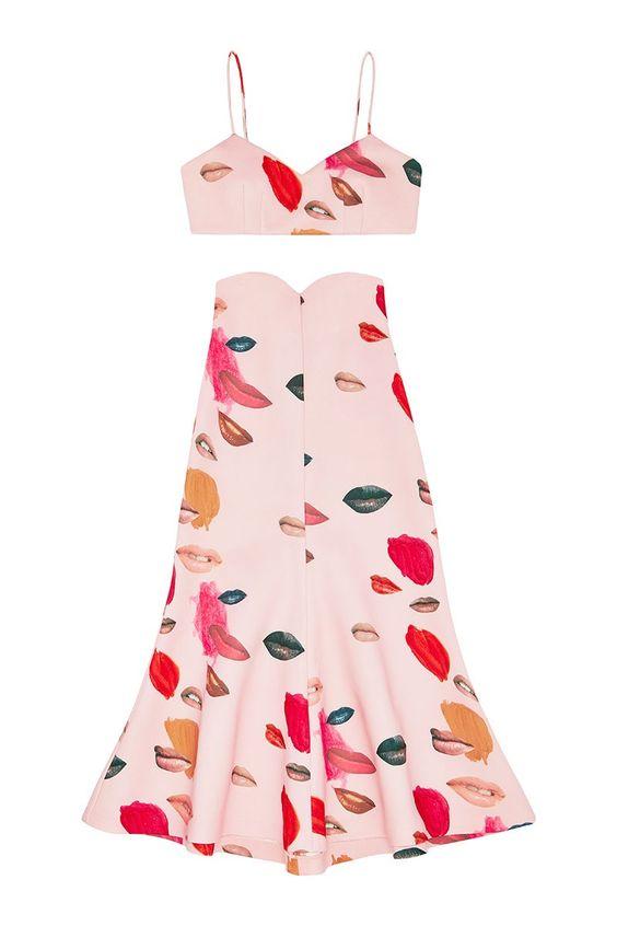 She Has Funny Cars Lips Print High Waist Midi Skirt Pink - alice McCALL