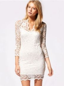 White Ladies Sexy V Neck Lace Bodycon Dress