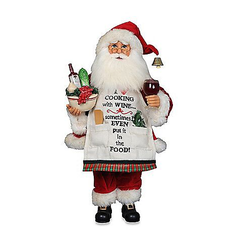 The Cooking with Wine Santa from Karen Didion Originals brings the joy of Christmas into your home. The quality of this figurine is unmatched with its hand-painted face, glass inset eyes, real mohair beard, unique fabric, and detailed accessories.