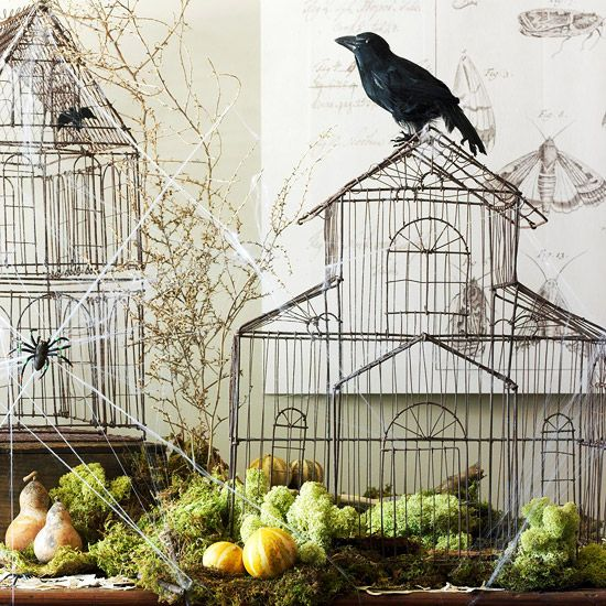 Wire birdcages make for a creepy #Halloween display. Learn how to set the scene here: http://www.bhg.com/halloween/indoor-decorating/halloween-decorations/#page=12