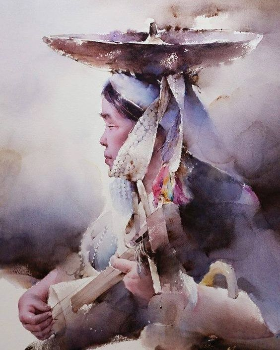 홍단 On Realism Art Portrait Art Watercolor Paintings