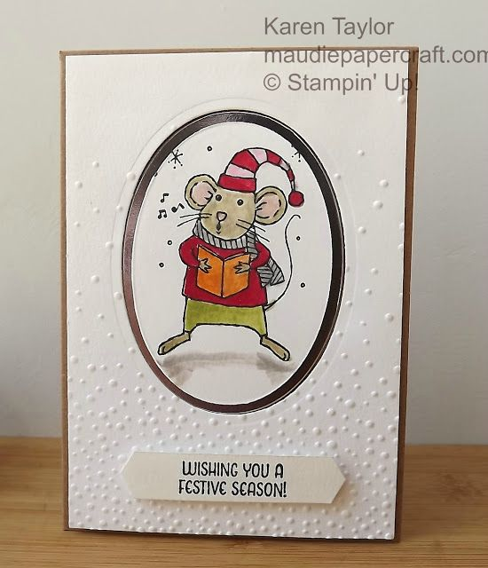 MaudiePapercraft: Stampin' Up! Merry Mice Christmas card with Softly Falling embossing folder: