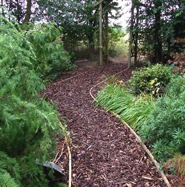 alternatieve tuinpaden in schors