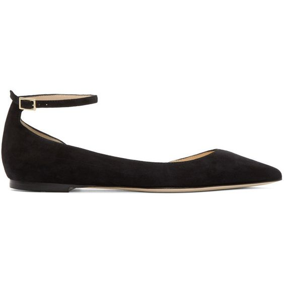 Jimmy Choo Black Suede Lucy Ballerina Flat ($446) ❤ liked on Polyvore featuring shoes, flats, ballerina, black, ballerina flats, suede ballet flats, black flats, black ankle strap flats and black pointed toe flats