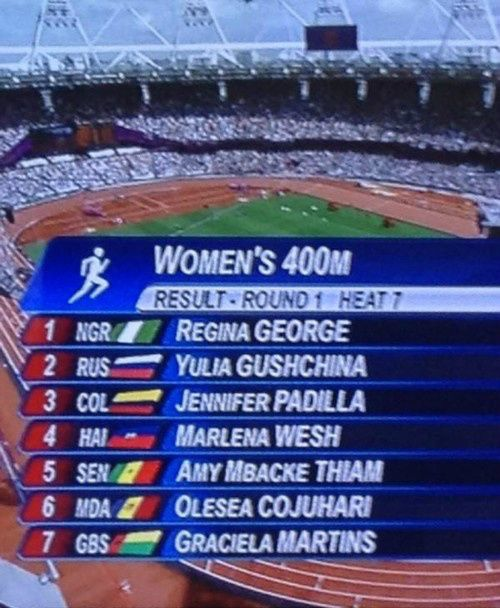 One time she beat me at the Olympics. It was awesome.