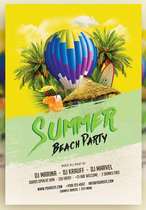 Summer Beach Party Flyer Template V 7 By Htmlguru On Summer Beach Party Party Flyer Flyer Template
